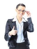 �eautiful business woman in glasses with his thumb up. Isolated on a white background. — Stock Photo