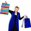 Beautiful woman in a campaign behind purchases. — Stock Photo #18852291