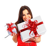 красивая девушка с рождественские подарки. — Стоковое фото