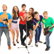 Stock Photo: Musicians group playing musical instruments in concert isolated on white background