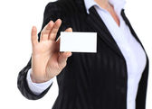 Business woman in her 40s holding business card — Stock Photo