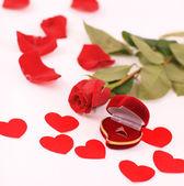 розы и коробка с кольцами — Стоковое фото