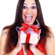 Beautiful girl with gifts. - Foto Stock