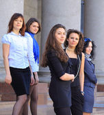 Grupp glada studenter. — Stockfoto