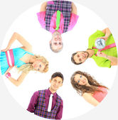 Group of the young smiling . Over white background Retro style. — Stock Photo