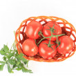Tomato vegetables and parsley leaves still life isolated on whit — Stock Photo