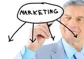 бизнесмен в возрасте, рисует график. изолированные на белом фоне. — Стоковое фото