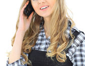 Business woman talks on the phone. Isolated on a white background. — Stock Photo