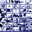 Collage with businesspeople working together and tools — Stock Photo