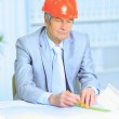 Engineer at the age of considering plans drawing and corrects them. — Stock Photo #21786823