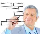 Biznesmen w wieku, rysuje wykres. na białym tle na białym tle. — Zdjęcie stockowe