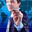 Business Man write graph on transparent digital screen   — Stock Photo