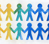 Team of paper doll holding hands — Stock Photo