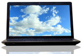 Laptop (notebook) with sky desktop wallpapers — Stock Photo