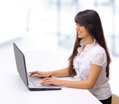 The beautiful business woman with the computer — Stock Photo