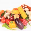 Background with fresh ripe vegetables over white — Stock Photo
