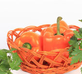 Fresh pepper vegetables isolated on white background — Stock Photo