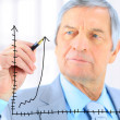 Royalty-Free Stock Photo: Businessman in age, draws a graph. Isolated on a white background.