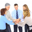 Smiling business holding hands together in a circle again — Stock Photo