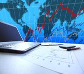 Wykresów, wykresy, biznes tabela. w miejscu pracy firmy — Zdjęcie stockowe