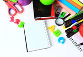 School stationery isolated over white with copyspace — Stock Photo