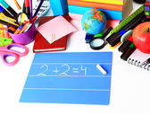 School stationery isolated over white with copyspace — Stockfoto