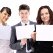 Group of young smiling business . Over white background — Stock Photo