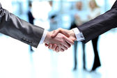The businessman. Hand for a handshake. The conclusion of the transaction. — Foto de Stock