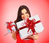 Beautiful girl with Christmas presents. — Stock Photo