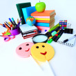 Office and student accessories on a white. Back to school concept. — Stock Photo #24533561