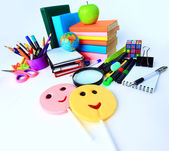 Office and student accessories on a white. Back to school concept. — Stock Photo