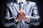 Biznesmen, gest, palcem. — Zdjęcie stockowe