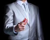 El empresario, un gesto, un dedo. — Foto de Stock