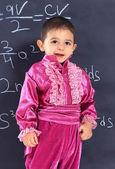 Little boy Gypsies near school boards — Stock Photo
