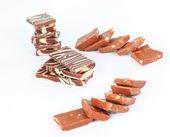 Barras de chocolate isoladas no fundo branco — Foto Stock