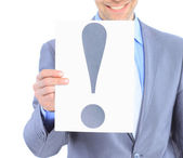 Nice businessman, with a exclamation mark. Isolated on a white background. — Stock Photo