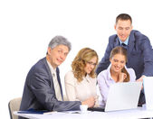 Group of businessmen to discuss the work plan. — Stock Photo