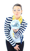 Beautiful girl with a mirror sphere on a white background. — Stock Photo