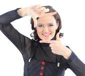 若いビジネス女性の笑みを浮かべて — ストック写真