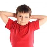 Children's yoga. The little boy does exercise. — Stockfoto
