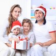 Portrait of happy family in Christmas hat — 图库照片