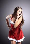 Mulher bonita e sexy, vestindo o traje de santa cláusula — Fotografia Stock