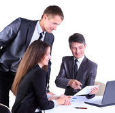Business team working on their business project together on white background — Stock Photo