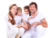 Beautiful happy family - isolated over a white — Stock Photo