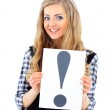 Happy smiling young business woman showing blank signboard — Stock Photo #40813259