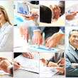 Collage of photo young people working together in business — Stock Photo
