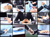 Collage of businesswoman hands working with touchpad and papers in office — Stock Photo
