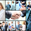 Collage of photo young people working together in business — Stock Photo #43852819