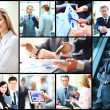 Collage of smart business people at work and hands of companions — Stock Photo #44343871