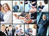Collage of smart business people at work and hands of companions — Stock Photo